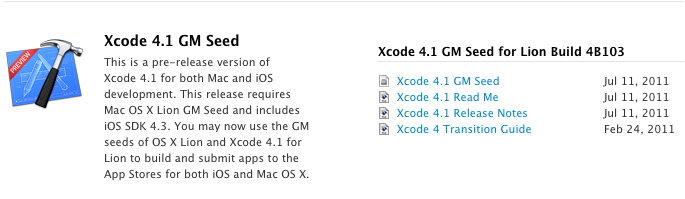 apple posts xcode 4 1 gm seed for os x lion macstories rh macstories net Apple Xcode Logo Learning Xcode