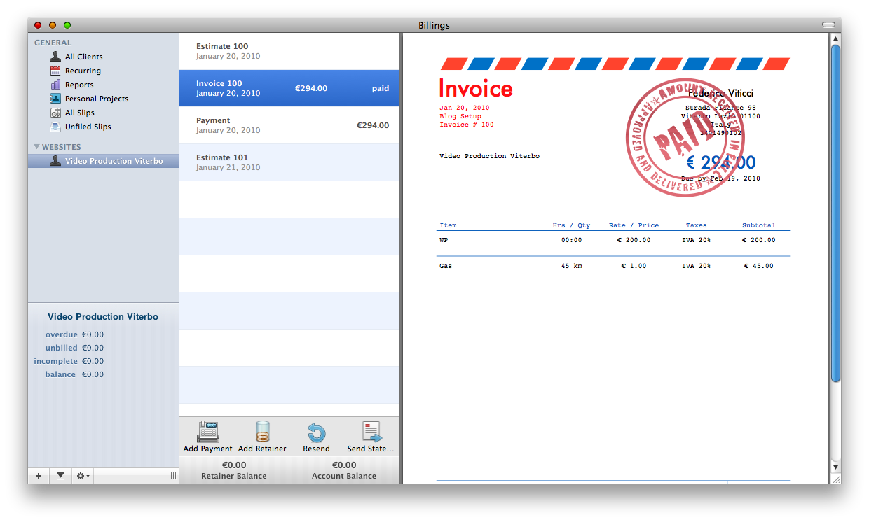 Billings Invoice