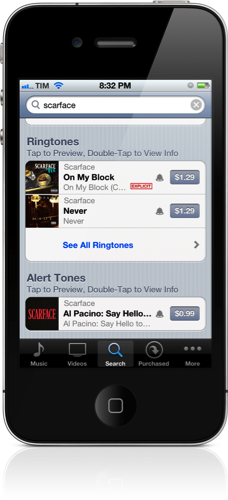 iTunes Search for Scarface: Ringtones Shown